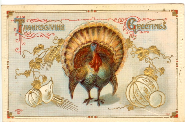 Thanksgiving Greetings Fall postcard