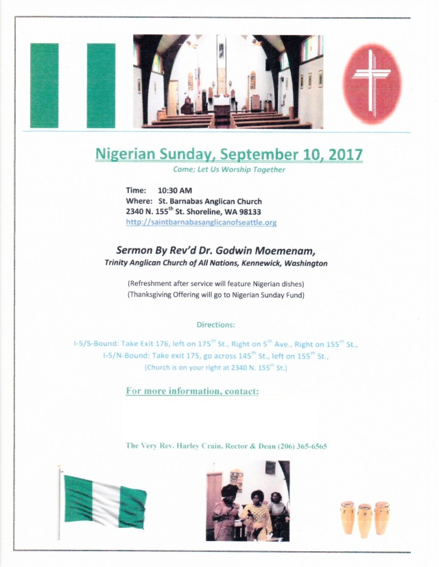 Nigerian Sunday Webblog posting 9 2 2017