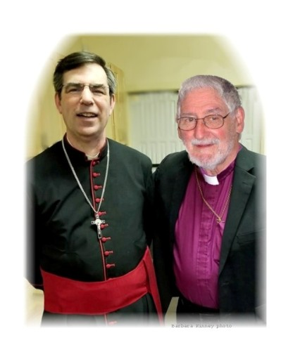 Bp Boyce with Fr Harley in the fellowship hall