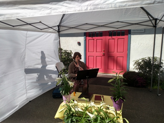 Rachel Yoder playing clarinet on Easter Day April 12 2020